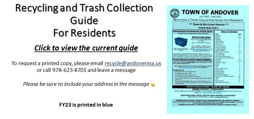 Recycle and Trash Collection Guide for residents. Click to view the current guide.