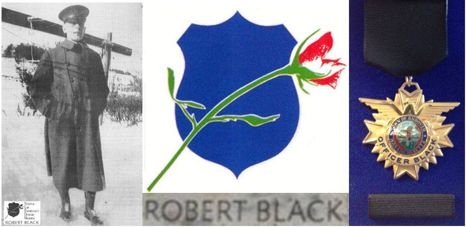 A photo of Officer Robert Black and the Robert Black Award medal.